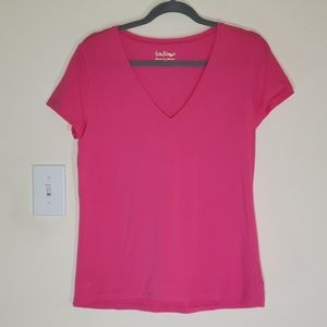 Pink Lilly Pulitzee V neck Tee!